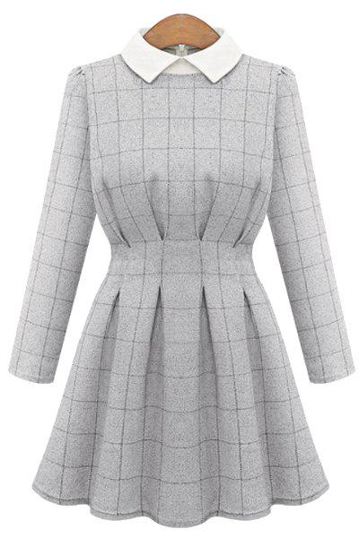 Women's Trendy Long Sleeve Flat Collar Plaid Dress - GRAY L