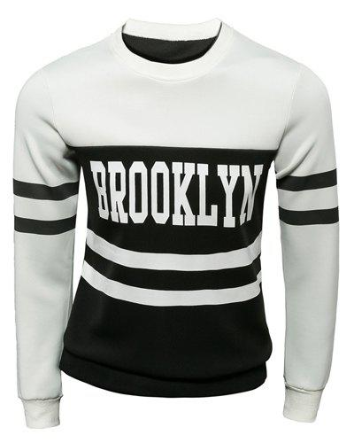 Slimming Stylish Round Neck Letter Print Two Color Splicing Long Sleeve Polyester Men's Sweatshirt - WHITE M