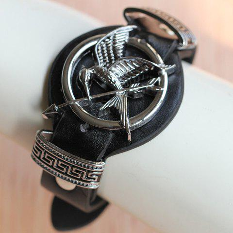 Stylish The Hunger Games Arrow Mockingbird Faux Leather Bracelet For Women - BLACK