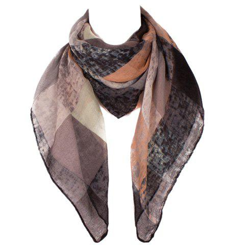 Fashion Retro Plaid Pattern Women's Voile Scarf - BLACK