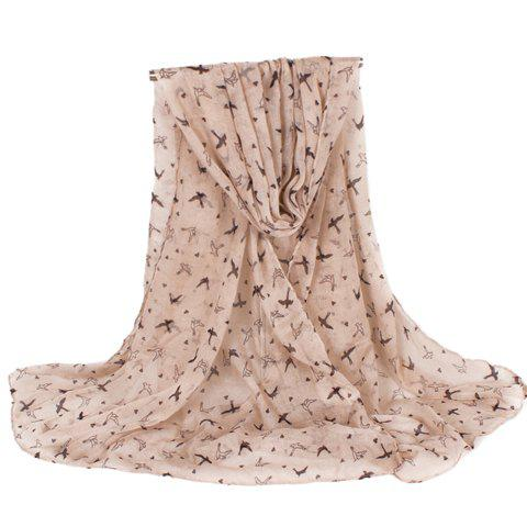 Fashion Fulled Swallow Pattern Women's Voile Scarf - LIGHT KHAKI