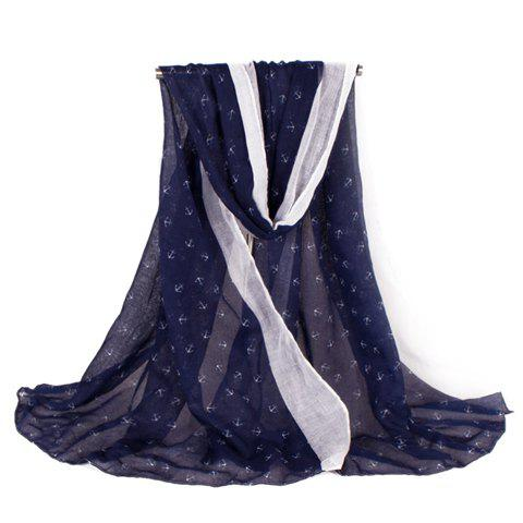 Fashion Fulled Boat Anchors Pattern Women's Voile Scarf - PURPLISH BLUE