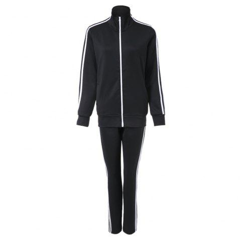 Active Stand Collar Long Sleeve Zippered Coat + Spliced Elastic Waist Pants Women's Twinset - BLACK ONE SIZE(FIT SIZE XS TO M)