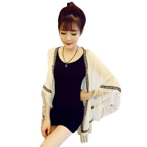 Vintage Collarless Batwing Sleeve Fringed Spliced Chiffon Women's Kimono Blouse - WHITE ONE SIZE(FIT SIZE XS TO M)
