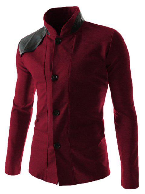 Slimming Stylish Stand Collar Color Block PU Leather Splicing Long Sleeve Polyester Men's Blazer - WINE RED L