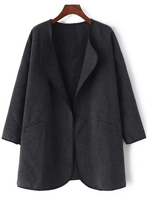 Fashionable Turn-Down Collar Pure Color Long Sleeve Trench Coat For Women - BLACK L