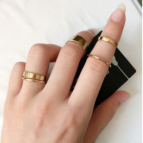 10PCS Exaggerate Chic Solid Color Finger Ring For Women - GOLDEN ONE-SIZE