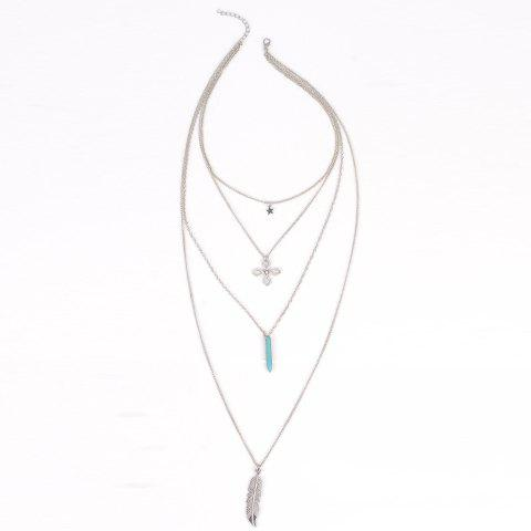 Star Feather Bullet Layered Faux Turquoise Necklace - SILVER