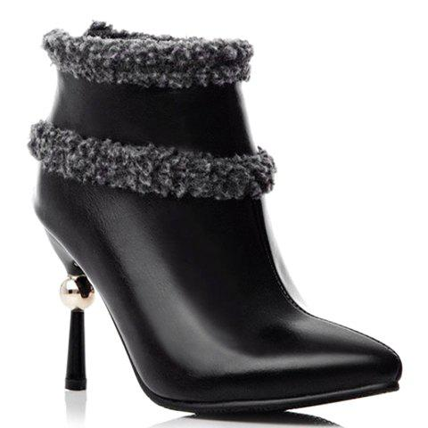Fashionable Pointed Toe and Zipper Design Short Boots For Women - BLACK 39