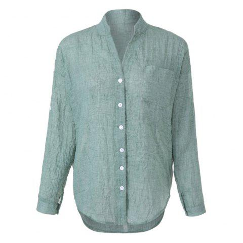 Casual V-Neck Long Sleeve Pure Color Button Pocket Design Women's Shirt - GREEN S