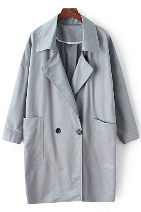 Stylish Lapel Long Sleeve Solid Color Women's Trench Coat - GRAY M