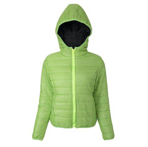 Chic Hooded Long Sleeve Candy Color Zippered Women's Coat - GREEN S