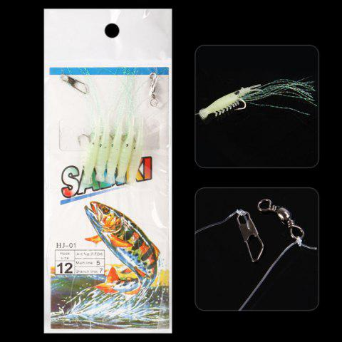 5 in 1 108cm Ultra-realistic Sabiki Rigs Fishing Lure Fishhook - GREEN NO.12