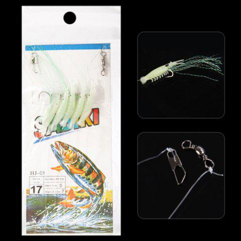 5 in 1 108cm Ultra-realistic Sabiki Rigs Fishing Lure Fishhook - GREEN NO.17