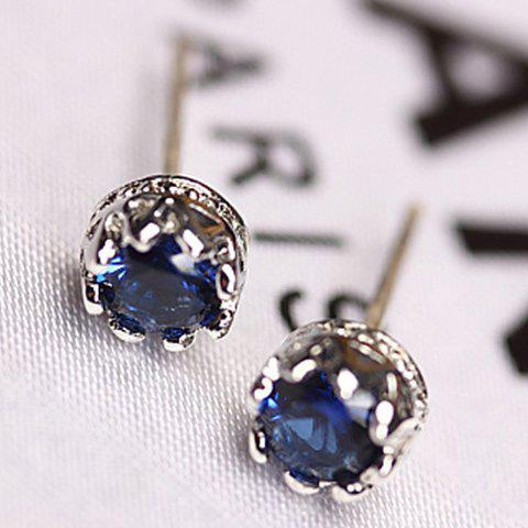 Pair of Faux Sapphire Crown Earrings - BLUE