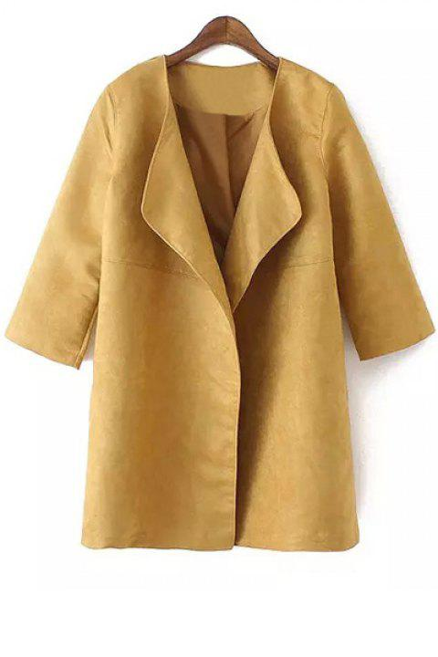 Fashionable Turn-Down Collar Faux Suede 3/4 Sleeve Trench Coat For Women - KHAKI S
