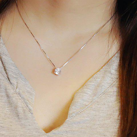 Round Fake Crystal Pendant Necklace - SILVER