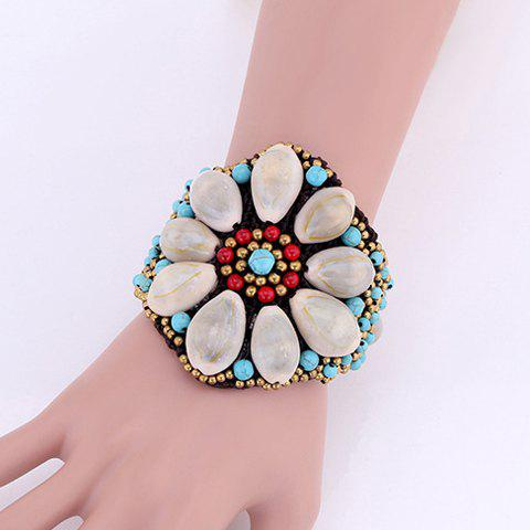 Weaved Wax Cord Faux Turquoise Shell Flower Bracelet - BLUE