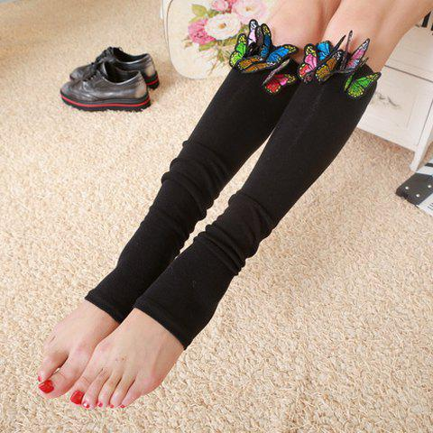 Pair of Chic Tridimensional Butterfly Embellished Women's Foot Step Leg Warmers - BLACK