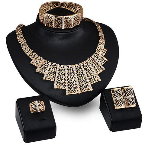 A Suit of Delicate Rhinestone Hollow Out Geometric Necklace Bracelet Earrings and Ring For Women - GOLDEN