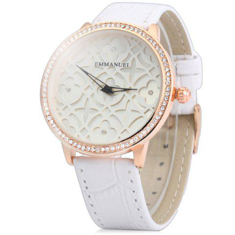Armband- & Taschenuhren Ladies Leather Fashion Watch With Flower Face Armbanduhren White