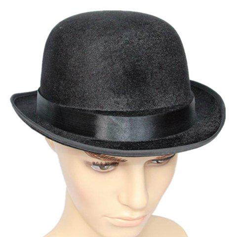2018 Stylish Strappy Embellished Round Top Men s Costume Hat BLACK ... 0c153454840
