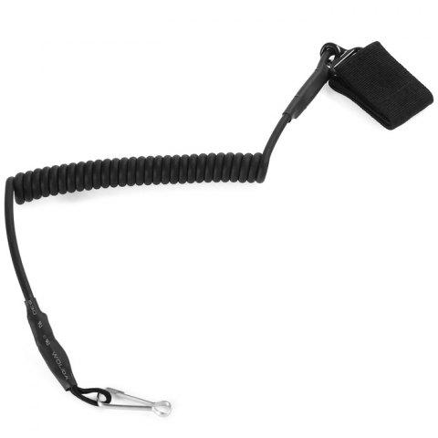Tactical Safety System Spring Gun Rope Plastic Retractable Cord - BLACK