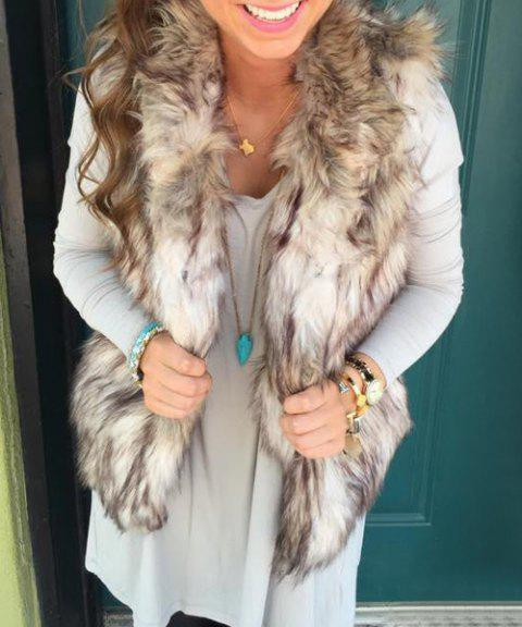 Trendy Women's Stand Collar Faux Fur Waistcoat - LIGHT KHAKI L