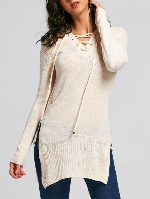 Raglan Sleeve Side Slit Lace Up Sweater - OFF WHITE ONE SIZE