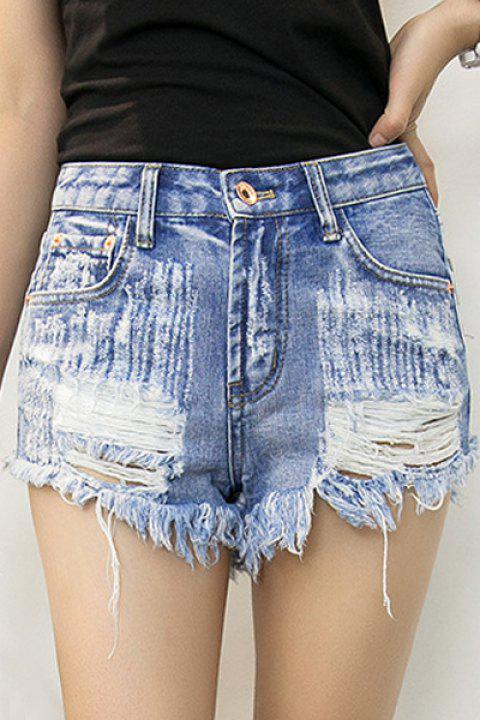 Stylish Straight Leg Rivet Denim Women's Shorts - LIGHT BLUE 40