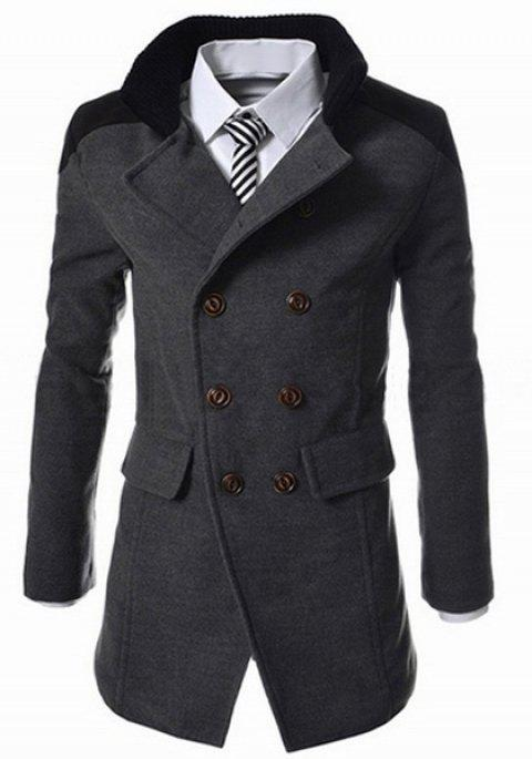 Slimming Stand Collar Inclined Top Fly Color Spliced Flap Pocket Men's Long Sleeves Peacoat - GRAY 3XL