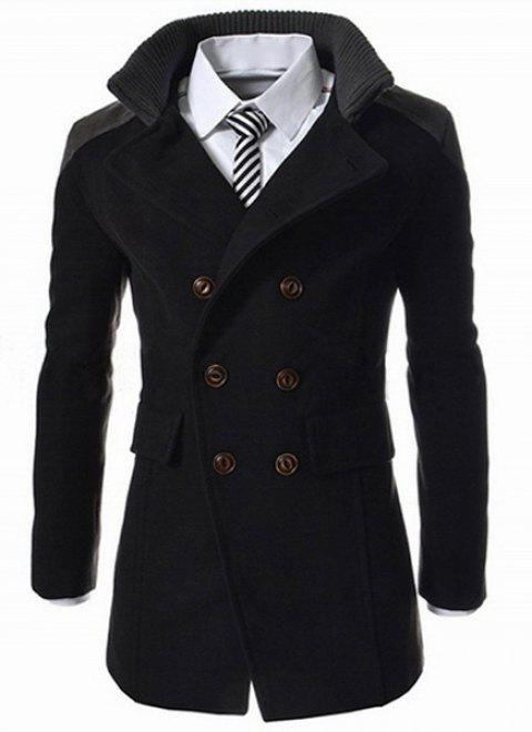 Slimming Stand Collar Inclined Top Fly Color Spliced Flap Pocket Men's Long Sleeves Peacoat - BLACK 2XL
