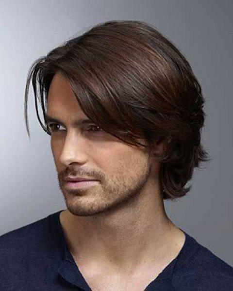 Stylish Deep Brown Mixed Inclined Bang Short Capless Natural Straight High Temperature Fiber Men's Wig - COLORMIX
