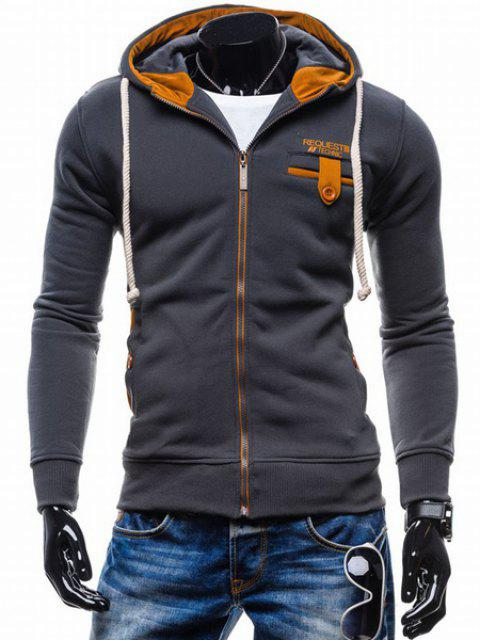 Classic Color Spliced Applique Button Pocket Embellished Hooded Long Sleeves Men's Slim Fit Hoodie - DEEP GRAY M