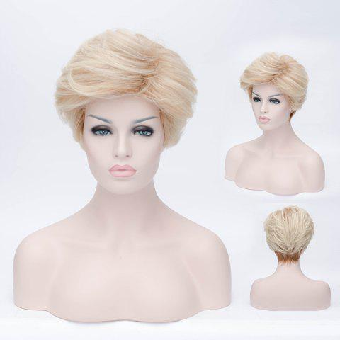 Shaggy Wavy Light Blonde Ombre Brown Capless Short Inclined Bang Spiffy Synthetic Wig For Women - LIGHT GOLD