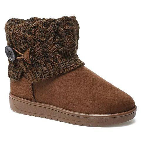 Cable Knit Button Snow Boots - BROWN 40