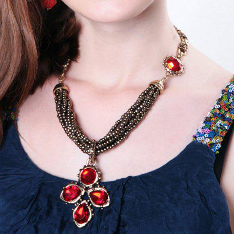 Noble Faux Ruby Flower Layered Beads Necklace For Women - RED