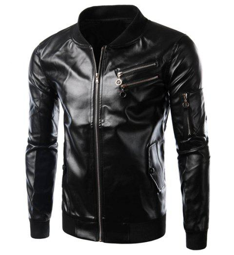Slimming Stylish Stand Collar Solid Color Rib Splicing Multi-Zipper Long Sleeve Men's PU Leather Jacket - BLACK XL