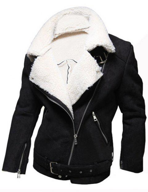 Casual Wool Collar Elegant Belt Inclined Top Fly Multi-Zipper Slimming Men's Long Sleeves Coat - BLACK M