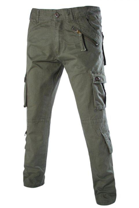 Trendy Loose Fit Multi-Pocket Button Design Straight Leg Cotton Blend Cargo Pants For Men - ARMY GREEN 33
