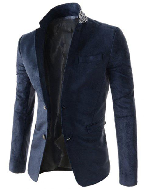Slimming Stylish Lapel Houndstooth Splicing Long Sleeve Men's Cotton Blend Blazer - DEEP BLUE M