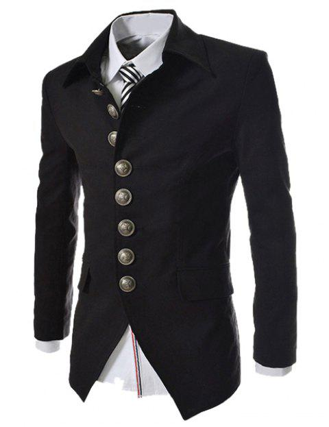 Slimming Fashion Turndown Collar Single Breasted Long Sleeve Men's Cotton Blend Blazer - BLACK L