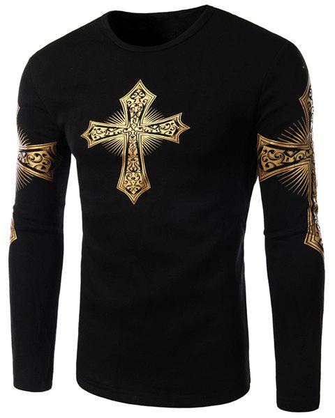 Modern Style Round Neck Color Block Special Cross Print Slimming Long Sleeves Men's Flocky T-Shirt - BLACK L