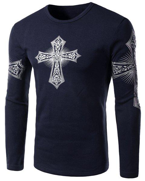 Modern Style Round Neck Color Block Special Cross Print Slimming Long Sleeves Men's Flocky T-Shirt - DEEP BLUE 2XL