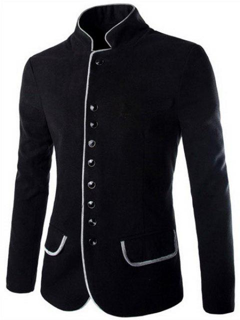 Slimming Stylish Stand Collar Single Breasted Color Block Edging Long Sleeve Men's Woolen Blend Blazer - BLACK L