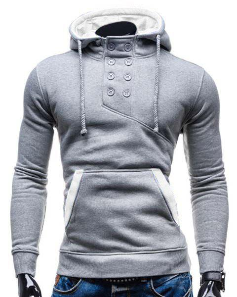 Slimming Hooded Stylish Double Breasted Pocket Hemming Long Sleeve Cotton Blend Men's Hoodie - COLORMIX 2XL