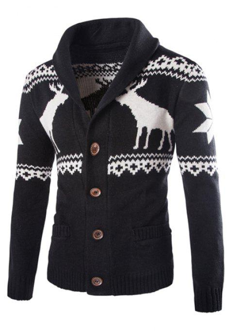 Fawn Snowflake Christmas Jacquard Button Up Cardigan - BLACK XL