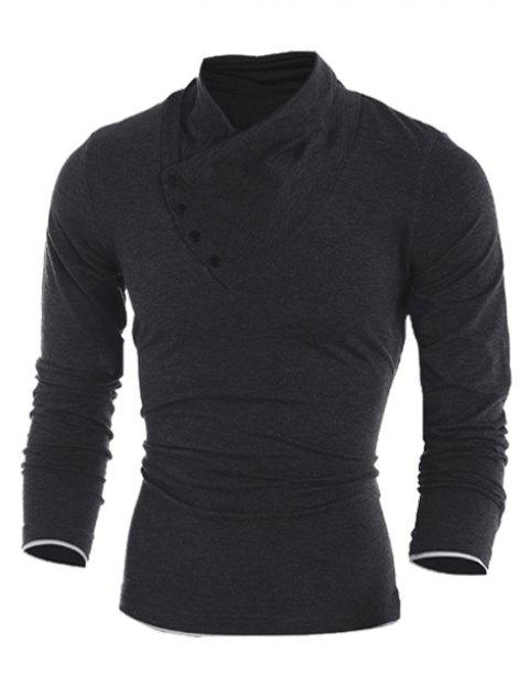Inclined Single-Breasted Color Block Cuffs Slimming Heaps Collar Long Sleeves Men's T-Shirt - BLACK XL