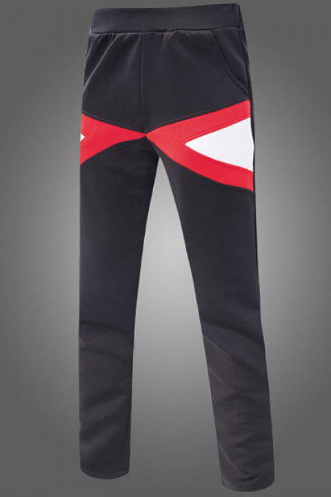 Slimming Narrow Feet Color Block Triangle Spliced Patch Pocket Elastic Waist Men's Sweatpants - BLACK L
