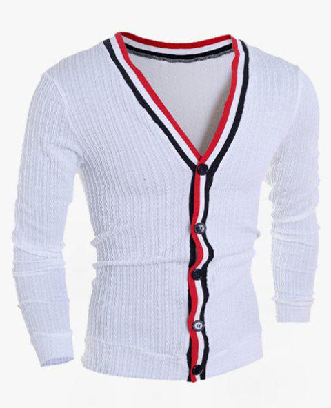 Color Block Braid Button Fly Stripes Pattern V-Neck Long Sleeves Men's Slimming Cardigan - WHITE L